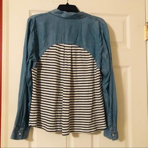 Crown and Ivy Denim Shirt with Striped Back